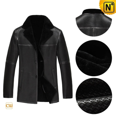 CWMALLS® Mens Black Shearling Coat CW877255 | Leather Trench Coat | Scoop.it