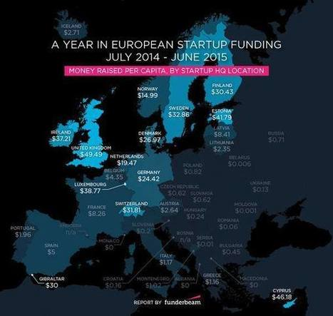 Startup Funding Raised per Capita in Europe [Map] | This is Your World | Scoop.it