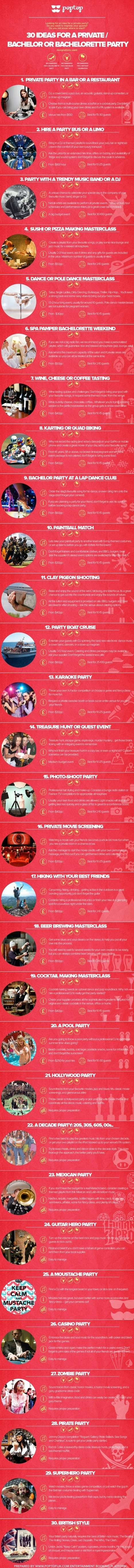 30 Best ideas for bachelor or bachelorette parties | The Best Infographics | Scoop.it