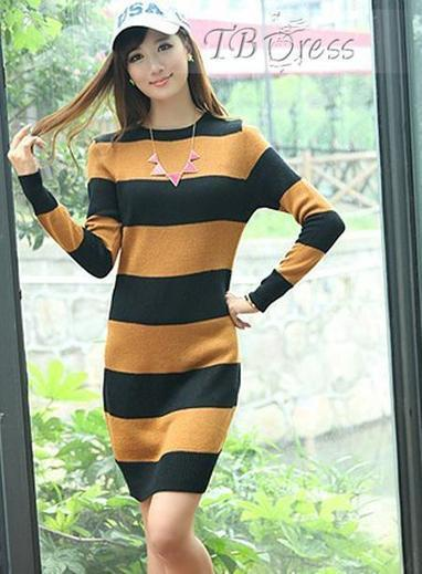 New Slim Assorted Colors Round Neckline Knit All-Matched Sweater Dresses   fashion   Scoop.it