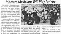 Maestro Musicians in Boston's Jewish Journal | Foxtail Fest | Scoop.it