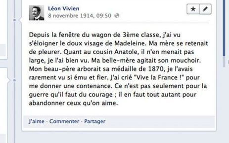 Suivez le quotidien du poilu Léon Vivien sur Facebook | Clic France | Scoop.it
