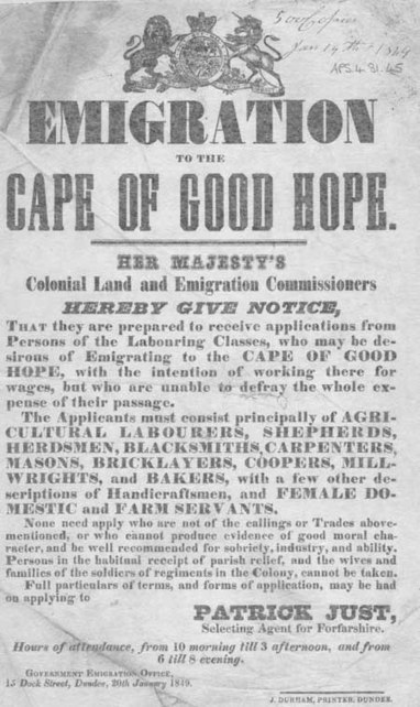 Broadside entitled 'Emigration to the Cape of Good Hope' | British Genealogy | Scoop.it