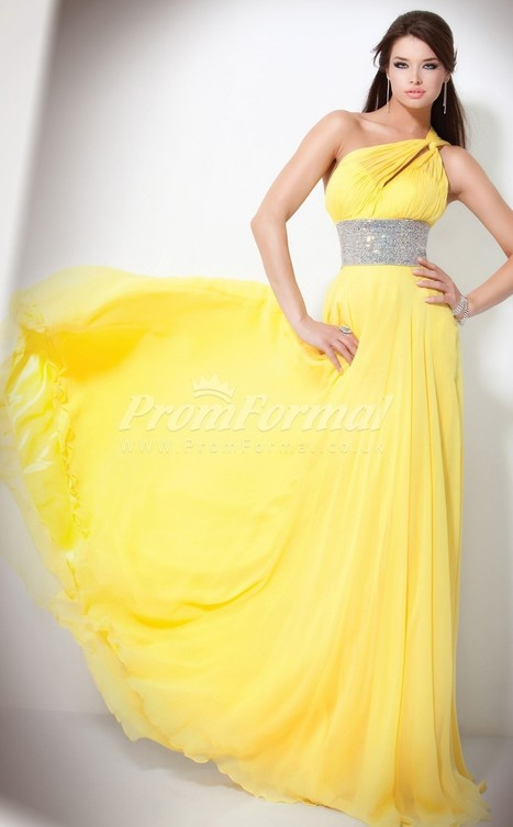 Elegant Chiffon One Shoulder A-line Sweep Train Evening Dress(PRJT04-0565) - promformal.co.uk | Prom & Formal | Scoop.it