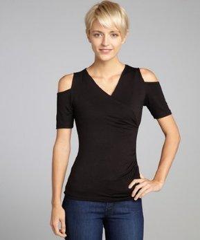 Casual Couture by Green Envelope black jersey 'Cold Shoulder' crossover v-neck top | Super HIT BRANDS | Scoop.it