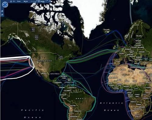 Cartes interactive des câbles à fibre optique sous-marins dans le monde
