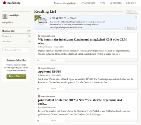 Personal readers: Readability und Readlists | smart digits [In German] | Content Marketing & Content Curation Tools For Brands | Scoop.it