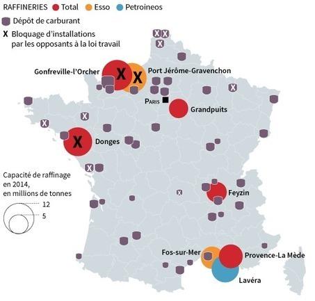 Loi travail : la carte des raffineries bloquées (Le Monde) | Géographie des conflits | Scoop.it