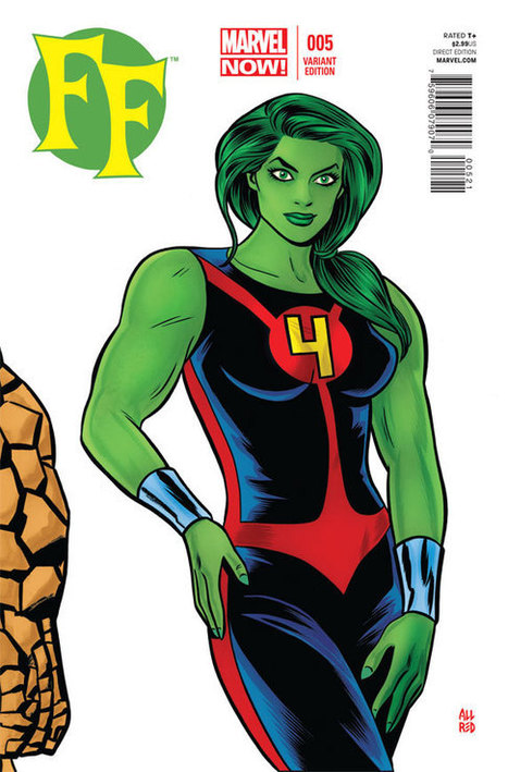 First Look: Mike Allred's Variant Cover For 'FF' #5 Spotlights She-Hulk | Comic Books | Scoop.it