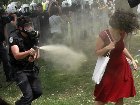 Turkey protests: 'Woman in red' pepper sprayed by police becomes symbol of Istanbul's Occupy Gezi unrest against Prime Minister Erdogan   Gezi   Scoop.it