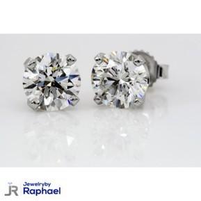 4.14 Carat F SI2 Round Diamond Earrings 100% Natural set in 14K WG Stud Mountings Grand Opening Sale Price!! | jewelrybyraphael | Scoop.it
