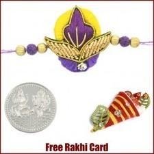 Purple Yellow Zardosi Rakhi - Send Rakhi to UK   Rakhi Gifts to India, USA, UK, Canada, Australia   Scoop.it