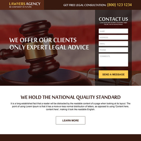 get free legal consultation lead gen responsive landing page design | buy landing page design | Scoop.it