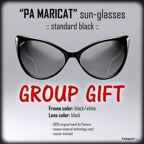 PA Maricat Sunglasses Group Gift by PANAVIA Fashion | Teleport Hub - Second Life Freebies | Second Life Freebies | Scoop.it