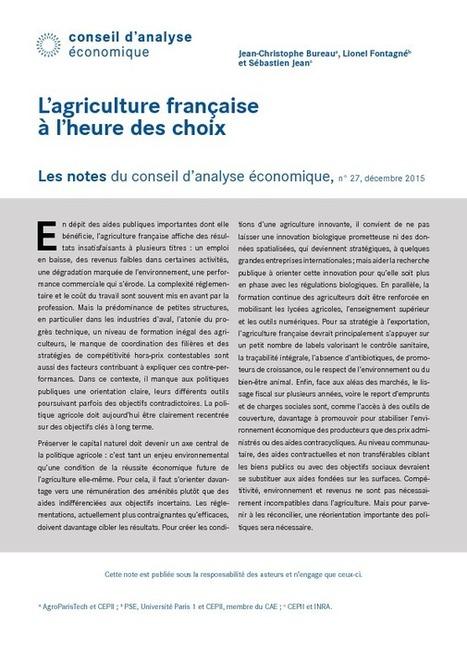 L'agriculture française à l'heure des choix - Accueil | Conseil d'Analyse Economique | CAE | la presse AGRIcole | Scoop.it