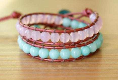 Agate, Jade Bohemian beaded leather bracelet, double, trendy jewelry, pink, rose, Seafoam, blue, pastel, boho glam, gift, Clover | DIY bracelets | Scoop.it