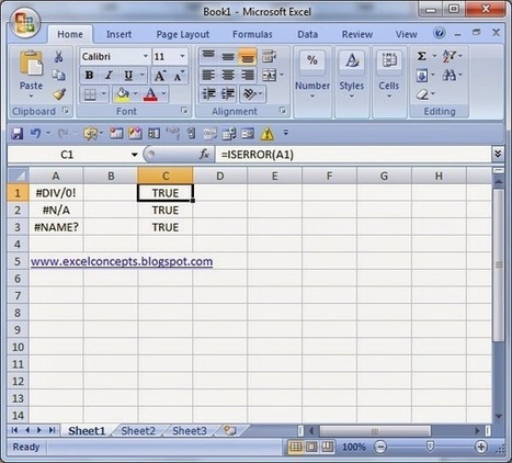 Excel Concept's: MS EXCEL: ISERROR FUNCTION | Six Sigma and excel concepts | Scoop.it