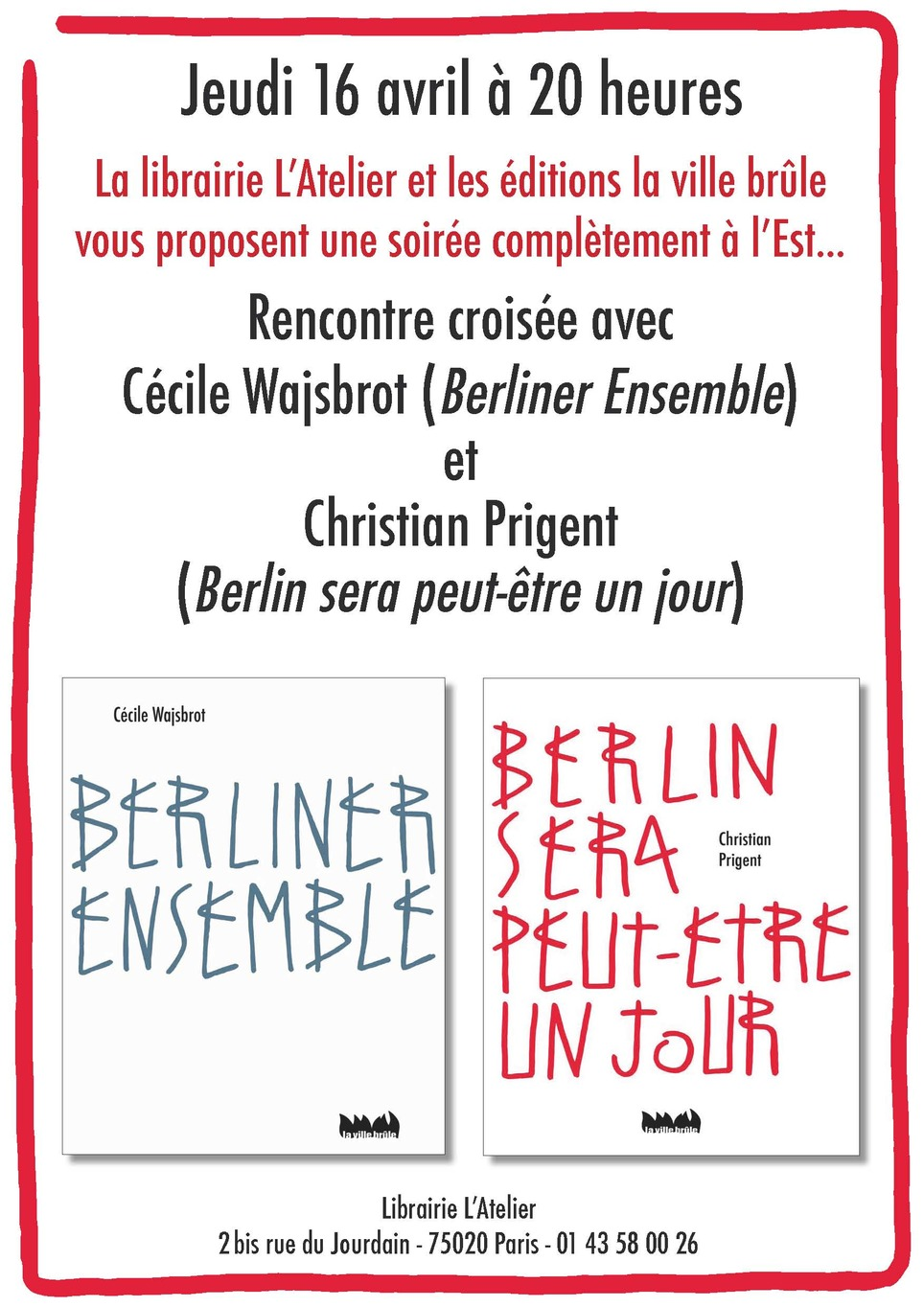 [agenda] 16 avril, Paris, Cécile Wajsbrot et Christian Prigent | Poezibao | Scoop.it