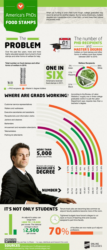 The Sad Reality of Americans with PhDs and Food Stamps [Infographic] | woman | Scoop.it