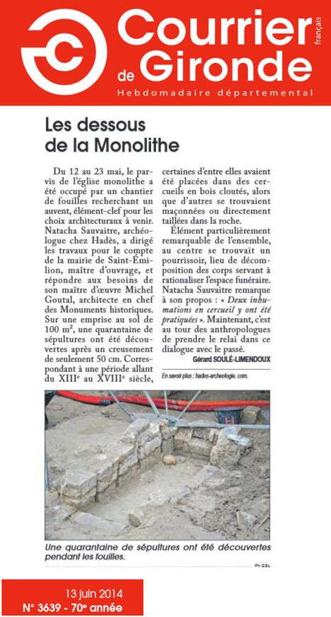 Saint-Émilion (33) : découvertes de sépultures | HADES - Archéologie | Scoop.it