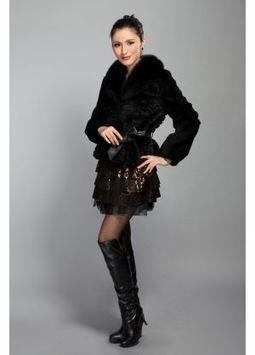 Women's Furs :: Fur Jackets :: Rabbit :: Rabbit Fur Jacket with Fox Fur Shawl Collar With Belt - | furs | Scoop.it
