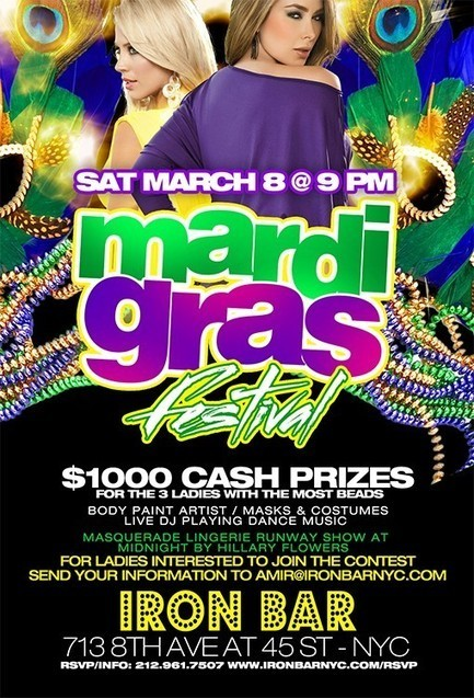 Mar. 8th - Mardi Gras Festival In NYC! Iron Bar & Lounge | 45 st & 8th ave | Theater District | Hell's Kitchen NYC New York | Time Square | | The Weekend - PuPH-PuPH Pazz | Scoop.it
