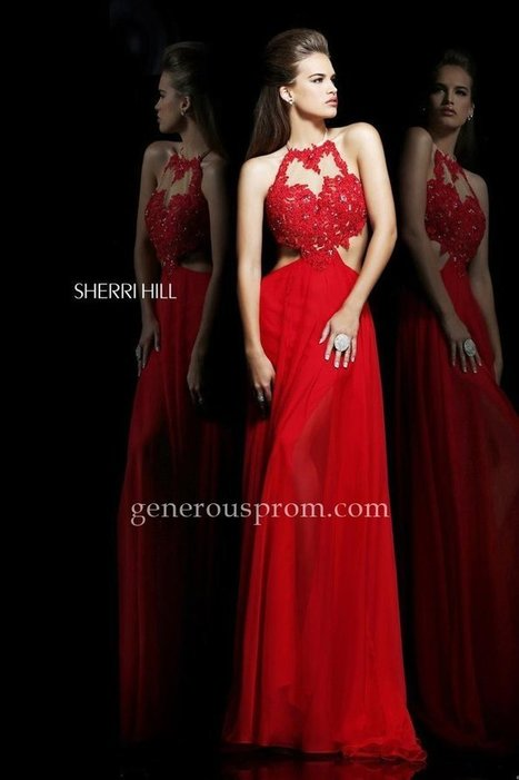 Cut-out Lace Beaded Sherri Hill 21309 Red Prom Gown - $198.00 : Prom Dresses | Generous Dresses | Prom & Homecoming Dresses | Scoop.it