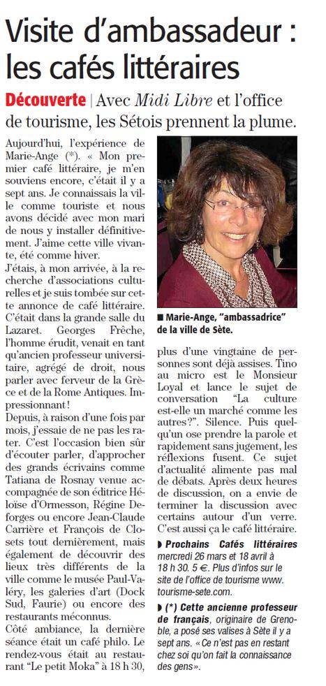Les cafés littéraires racontés par Marie-Ange | Sète Tourisme : les ambassadeurs-reporters sur le terrain | Scoop.it