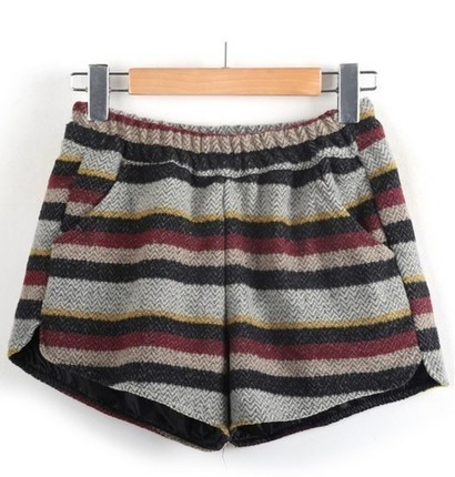 Elastic Waist Striped Woolen Shorts from yourfashionsandcute | bebpiloo | Scoop.it
