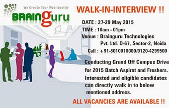 Grand Walkin in Noida for Freshers on 27th to 29th of May 2015 - Immediate Joining | Brainguru | Scoop.it