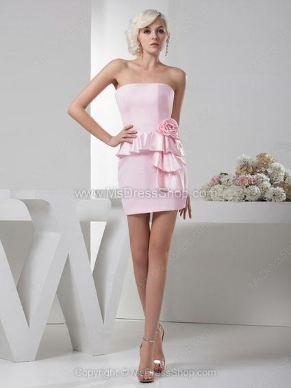 Sheath/Column Strapless Satin Elastic Woven Satin Short/Mini Flower(s) Cocktail Dresses | Cocktail dresses online | Scoop.it