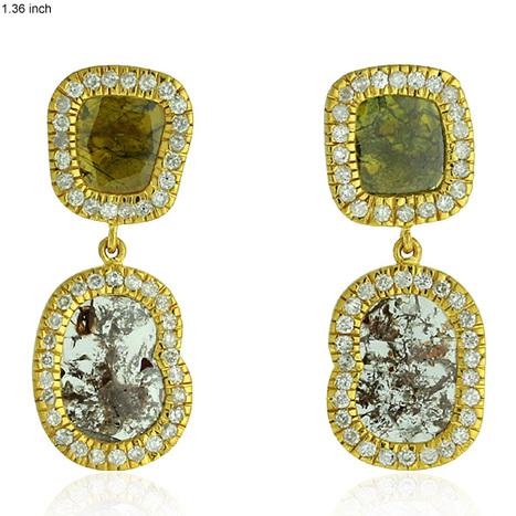 Flat Diamond Double Drop Earrings 18kt Yellow Gold Jewelry | Pave Diamond Bracelets | Diamond Jewelry | GemcoDesigns | Scoop.it
