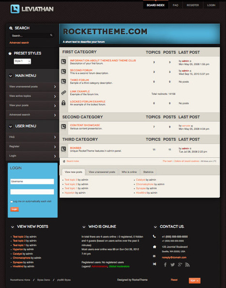 Leviathan Responsive phpBB 3.0.11 Style Theme | Gaming org manager | Scoop.it