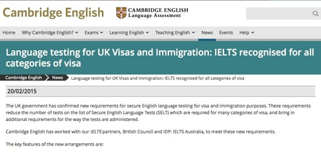 Language testing for UK Visas and Immigration: IELTS recognised for all categories of visa | English for International Students | Scoop.it