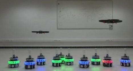 Un essaim de robot qui s'aide d'un AR drone pour optimiser ses mouvements | Semageek | Bots and Drones | Scoop.it
