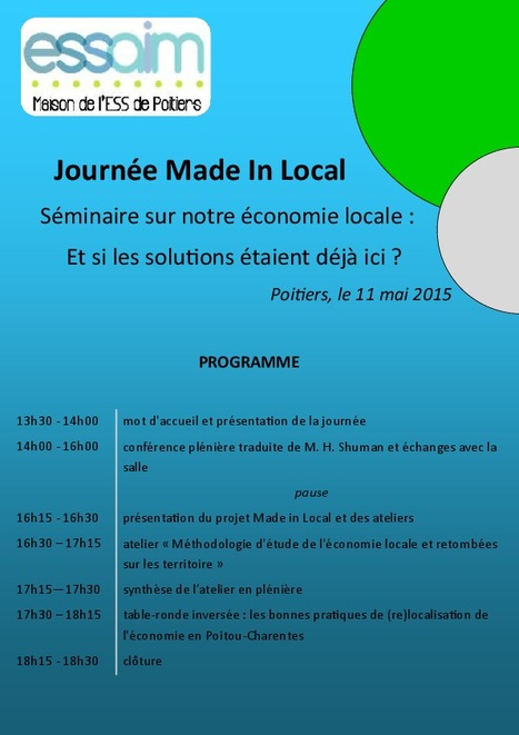 Made in Local: Michael Shuman vient de Washington à Poitiers ce 11 mai | ECONOMIES LOCALES VIVANTES | Scoop.it