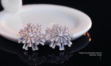 Exaggerated Geometric Shape Swarovski Crystal Earrings - DearyBox | Jewellery On-line Boutique Shop | DearyBox.co.uk | Women's Earrings | Scoop.it
