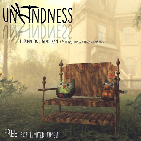 Autumn Bench with Owl Pillows FaMESHed Event Gift by unKindness | Teleport Hub - Second Life Freebies | Second Life Freebies | Scoop.it