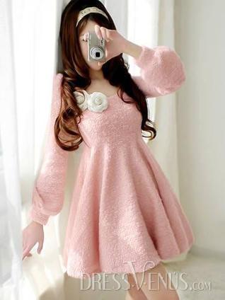 Lovely New Arrival Pink Long Sleeve Slim Dress | Dresses | Scoop.it