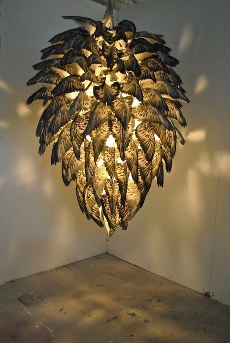 Gorgeous Chandelier Designed with Silkscreen Pigeon Feathers | Le It e Amo ✪ | Scoop.it