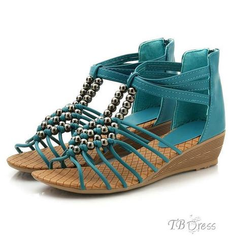 Retro Round Beads Ankle Strap Roman Wedge Sandals   women fashion&clothing   Scoop.it