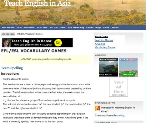 EFL/ESL Vocabulary Games | Teach English in Asia | L2 Vocabulary Teaching & Learning | Scoop.it