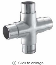 4-way cross fitting only $72.00 - Stainless Steel Handrail Tube & Fittings | Stair Balusters | Scoop.it