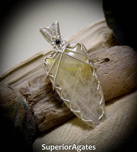Golden Rutilated Quartz Silver Wire Wrapped Gemstone Pendant | Wire Wrapped Stone | Scoop.it