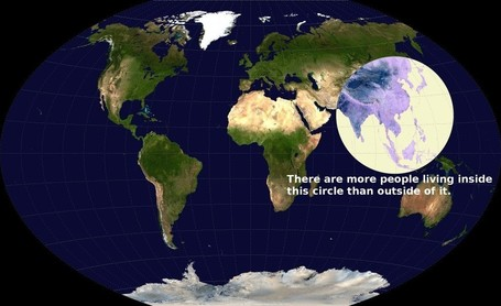 Map: More than half of humanity lives within this circle | IB Geography (Diploma Programme) | Scoop.it