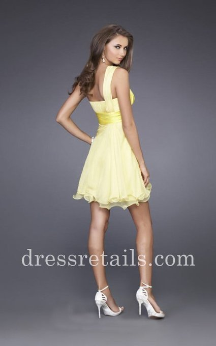 Layered wire-hem skirt one shoulder short yellow dress by La Femme 15140 [La Femme 15140] - $160.00 : Prom Dresses | Dresses From dressretails.com | Dresses for girls | Scoop.it