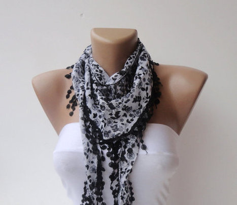scarf , women fashion scarves , Cotton scarf ,black gray  elegant scarf ,floral scarf 2013 scarf trend | Knit Ruffled Scarf,multicolor scarf,2013 NEW TREND SCARF,accessories,gifts for her,fashion,long scarf | Scoop.it