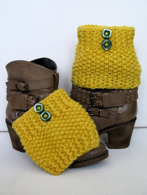 cable knitted, yellow gold Boot cuff - Winter Leg warmers - Button Boot Socks - Knit leg warmers for her gift guide 2014 EmofoFashion. | women fashion | Scoop.it