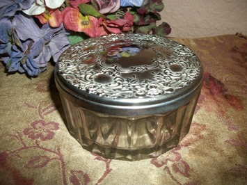 Antique Glass Powder Jar Silver Plated Lid Covered Keepsake Trinket Dish Jewelry Box 1950's Regal Home Decor Boudoir Vanity Table Dish   Antiques & Vintage Collectibles   Scoop.it