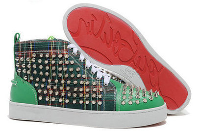 Green Tartan Christian Louboutin Spiked Sneakers Fashion Red Sole [10028] - $138.00 : Cool Louboutins, Christian Louboutin Shoes Cool ,Cool Spiked Pump | Fashion shoes | Scoop.it